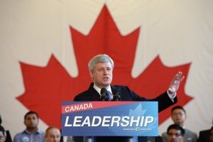 Stephen Harper delivers an election announcement during a campaign stop at Saint Mark Coptic Orthodox Cathedral in Markham, Ont., on Monday, Aug. 10, 2015. (THE CANADIAN PRESS/Sean Kilpatrick)