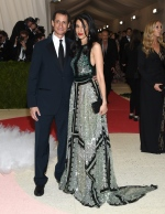 Anthony Weiner, left, and Huma Abedin arrive at The Metropolitan Museum of Art Costume Institute Benefit Gala in New York on Monday, May 2, 2016. (Invision / Evan Agostini)