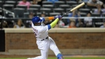 New York Mets' Yoenis Cespedes hits a walk-off home run during the tenth inning of a baseball game against the Miami Marlins at Citi Field in New York on Monday, Aug. 29, 2016. (AP / Bill Kostroun)