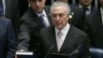 Brazil's President Michel Temer takes the presidential oath at the National Congress, in Brasilia, Brazil, Wednesday, Aug. 31, 2016. (AP / Eraldo Peres)