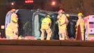 Toppled pickup truck 17 Ave SE
