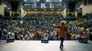 Democratic presidential candidate Hillary Clinton speaks at a homecoming pep rally at North Carolina Agricultural and Technical State University in Greensboro, N.C. on Thursday, Oct. 27, 2016. (AP / Andrew Harnik)