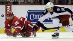 Columbus Blue Jackets center Alexander Wennberg (10), of Sweden, knocks the puck away from Detroit Red Wings defenseman Niklas Kronwall (55), also of Sweden, during the first period of an NHL hockey game Friday, Dec. 9, 2016, in Detroit. (AP / Duane Burleson)